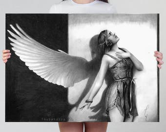 LARGE wall art PRINT of pencil drawing, fantasy angel vintage girl wings home decor, surreal artwork poster, fine print, edwardian angel art