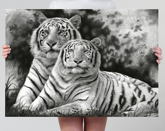 White Tiger Print | Tiger Drawing Art Print or Poster | Black White Tiger Couple Pencil Art Large Wall Decor