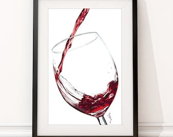 Red Wine Poster | Wine Digital Painting Print | Large Wine Print Wall Art | Pub and Kitchen Decoration Gift for Wine Lovers