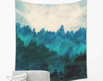 Misty Forest Tapestry Wall Hanging from Lightweight Fabric