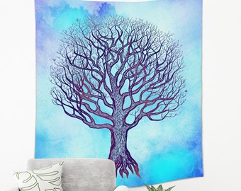 Tree of Life Tapestry in Blue Color from Lightweight Polyester