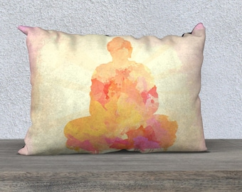THROW PILLOW, Rectangle Buddha Pillow case, Pillow Cushion, Watercolor Decor, Spiritual Zen Home Decor, Meditating Buddha Design