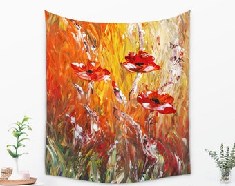 Abstract Poppies WALL TAPESTRY, Large Wall Decor, Painted Floral Tapestry for Her, Painting Tapestry, Impressionist Summer Tapestry