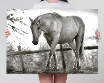 Black and White Horse Print Wall Art of a Photorealistic Pencil Drawing
