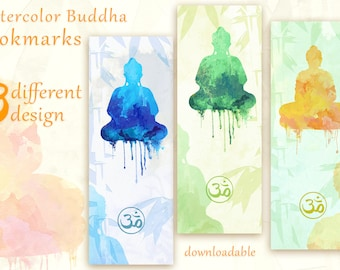 Buddha Printable Bookmarks | Zen Bookmark Design | Buddha Watercolor Marker | Downloadable Bookmark Design