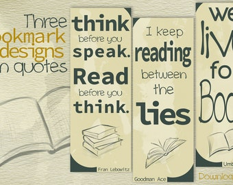 Bibliophile Printable Bookmarks with Writer Quotes Reader Gifts
