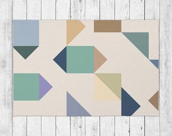 Modern Geometric Fashion Accent Rug With Bonus Non-Slip Rug Pad