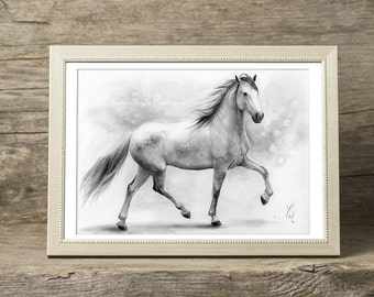Horse art PRINT, Galloping White Mare Pencil Drawing Print, GICLEE PRINT, Black and White Home Decor, Horse Wall Art, Hyperrealism