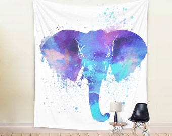 Large Watercolor Elephant Wall Art Printed on 100% Lightweight Polyester