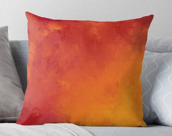 Orange and Red Painting Pillow Case from 100% Polyester with Pillow Insert