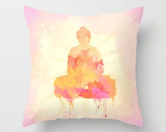 Soft Yellow Pink Square Buddha Pillow Case from 100% Polyester with Pillow Insert