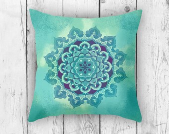 Yellow Green Square Mandala Pillow Case from 100% Polyester with Pillow Insert