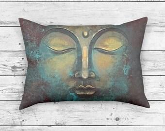 Buddha Home Decor Throw Pillow   Sacred Pillow Cover   Spiritual Zen Decor   Rustic Buddha Rectangle Pillow