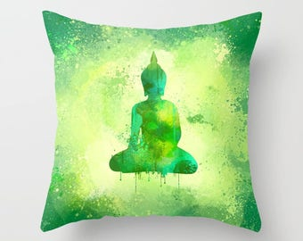 Refreshing Green Square Buddha Pillow Case from 100% Polyester with Pillow Insert