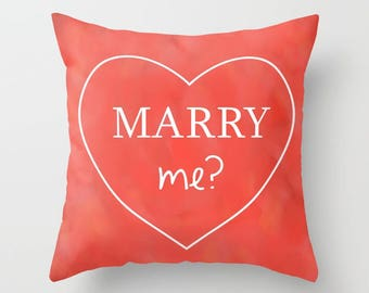 Marry Me THROW PILLOW, Valentine Cushions, Love Heart Valentine Decorative Pillow, Proposal Pillow Case, Wedding Gift Pillow, Love Gift