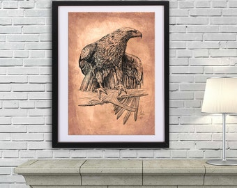 Falcon drawing art PRINT, ink drawing on old paper, GICLEE PRINT, sitting falcon poster, eagle wings illustration print, wild bird poster