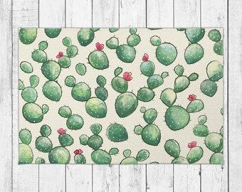 Cactus Pattern Rug Happy Floral Cacti Floor Decor with Bonus Non-Slip Rug Pad