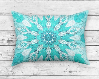 Aqua Pillow in Rectangle Shape | Bright Pillow Cushion | Vivid Blue Zen Home Decor | Rectangle Blue Hippie Pillow
