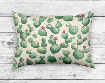 Rectangle CACTUS PILLOW | Summer Pillow Cushion, Desert Decor, Cactus Pattern Pillow Cushion, Happy Blooming Cactus Design Pillows