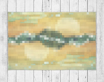 Abstract Pixel Design Rug in Yellow and Green Colors With Bonus Non-Slip Rug Pad