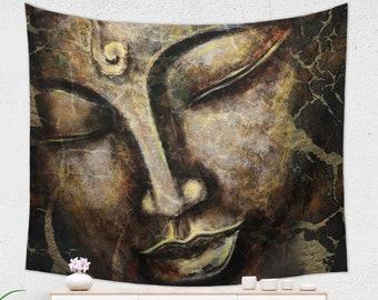Brown Buddha Tapestry Sacred Design Meditation Room Decor for Spiritual People