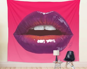 Hot Sexy Lips Large Wall Tapestry Printed on 100% Lightweight Polyester