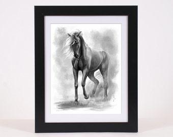 Horse art PRINT, horse digital painting GICLEE PRINT, dark horse art poster wall art decoration, black white wild horse home decor