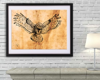 Owl drawing art PRINT, animal ink drawing on old paper, GICLEE PRINT, flying owl poster, owl wings illustration print, wild bird poster