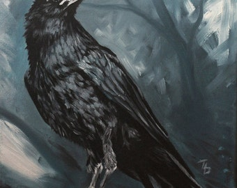 Raven Painting PRINT of Painted Raven Art, Raven Art Print, Traditional Oil Painting GICLEE PRINT, Black Bird, Blue Painting, Noble Animal