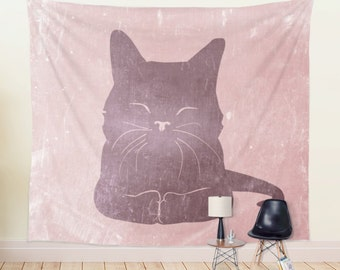 Cat Wall Decor Tapestry | Pink Nursery Wall Tapestry | Happy Cute Cat Tapestry | Colorful Kids Decor