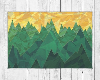 Minimalist Sunset Landscape Dobby Rug with Bonus Non-Slip Rug Pad