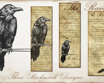 Raven PRINTABLE Bookmark for Bibliophiles, Bookmark Design Gift, Ink Raven on Old Paper Texture Bookmark, Bibliophile Bookmark