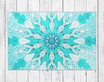 Sea Blue Rug Beachy Mandala Floor Decor with Bonus Non-Slip Rug Pad
