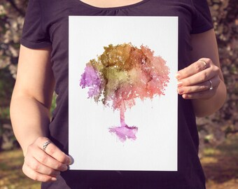 Watercolor Tree Print | Colorful Nature Art Print or Poster | Watercolor Painting Print of a Tree | Fall Home Decor