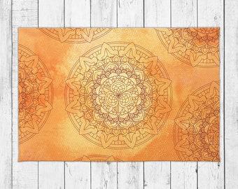 Sun Mandala Area Rug in Warm Yellow and Orange Color with Bonus Non-Slip Rug Pad