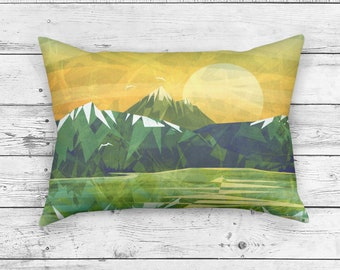Green Mountains Rectangle Pillow case, Sunset Pillow Cushion, Abstract Landscape Design on Throw Pillow, Inspired Home Decor