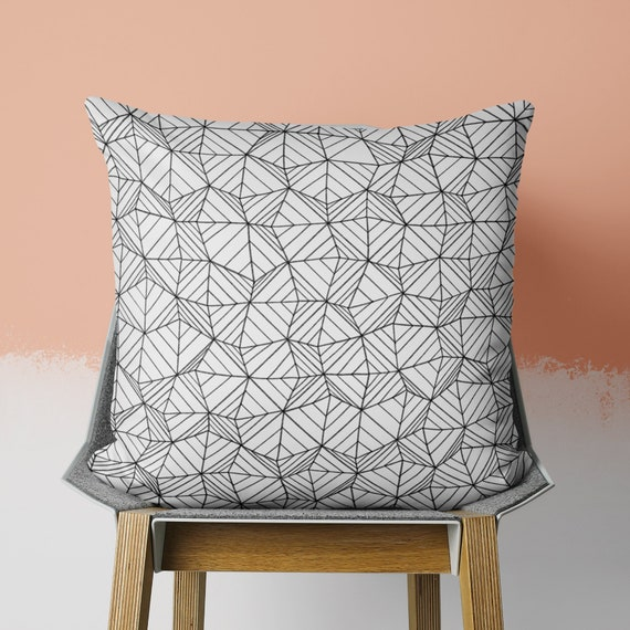 Geometric Doodle Pillow | Modern Throw Pillow in Square Shape | Black and  White Accent Pillow | Doodle Pattern Pillow
