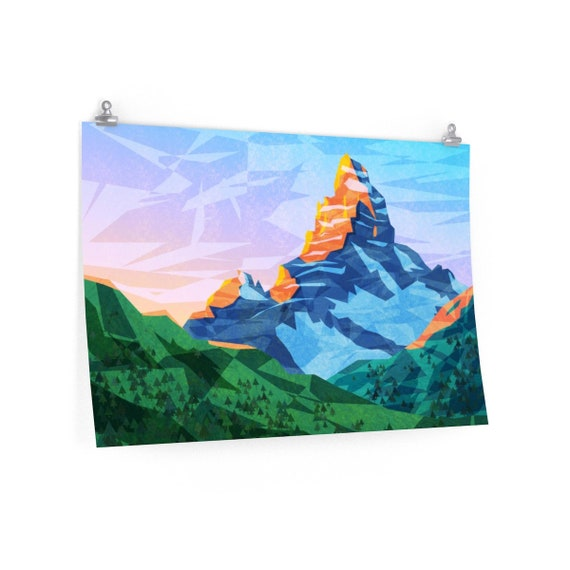 Mountain Wall Art Abstract Mountain Art Print For Children Snowy And Rocky Mountain Art Printed On Poster Scenic Landscape Art