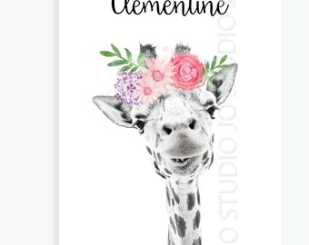 Giraffe / Wall / Room Nursery Print / Floral Vintage / Welcome Sign / First Birthday / Baby Shower Design / Printable Party & Birthday Decor
