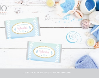 Sparkly Mermaid Chocolate Bar Wrappers / Mermaid Party Design / DIY Modern Printable Party & Birthday Decor - Digital File