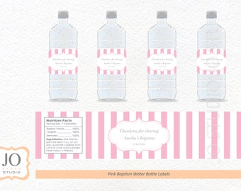 Pink Stripe Water Bottle Labels / for a Baptism / Christening / Birthday Party