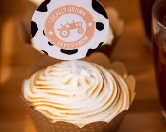 Farm Party / Farmyard Cupcake Toppers / Farm Animals / Tractor / 2 Inch Circles Design / DIY Printable Party & Birthday Decor - Digital File