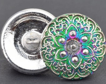 18mm Czech Glass Button-Lacy Star - Green/Purple Irisescent with Silver Paint,round glass button, Pendant, Cabochon (B6)