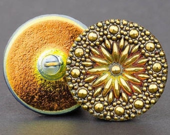 27mm Czech Glass Button-North Star-Orange Antiqued Gold w/ Gold Paint,round glass button, Pendant, Cabochon (B11)