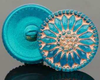 18mm Czech Glass Button-Sunflower - Turquoise Green and Copper,round glass button, Pendant, Cabochon (B8)