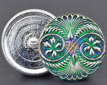 32mm Czech Glass Button-Double Spiral-Green/Pink Iridescent with Silver Paint,medium round glass button, Pendant, Cabochon (B16)