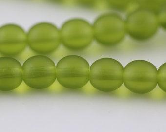 100 Matte-Olivine : Czech Round Glass Druk Bead, 4mm (CR-4M-41)