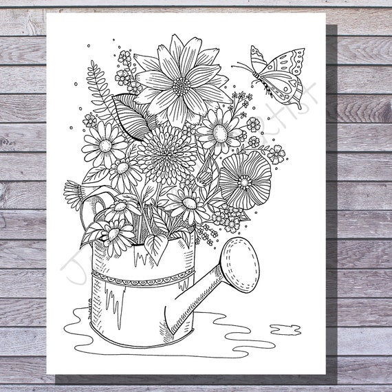 Printable Coloring Page  Flowers in a Watering Can  Floral