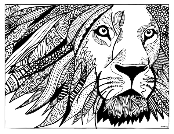 Printable Coloring Page Lion Coloring Page Printable Pdf Etsy