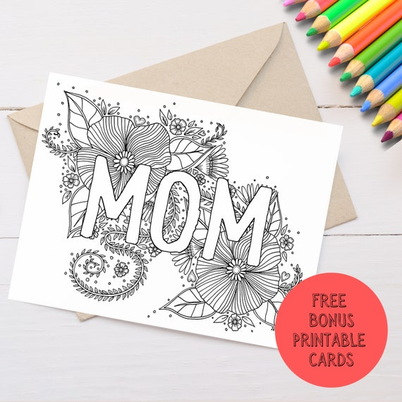 Mom Coloring Page and Greeting Card Printable  Mother's